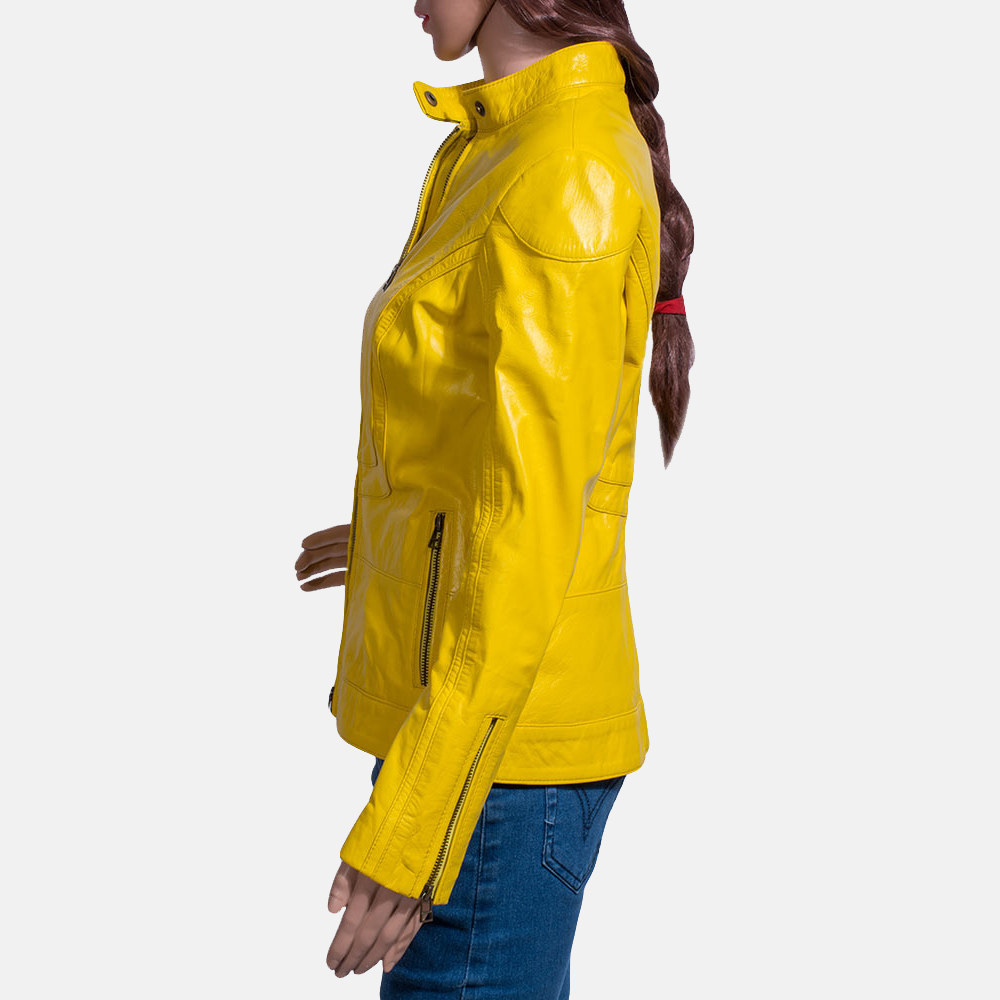Womens Mystic Yellow Leather Biker Jacket 4