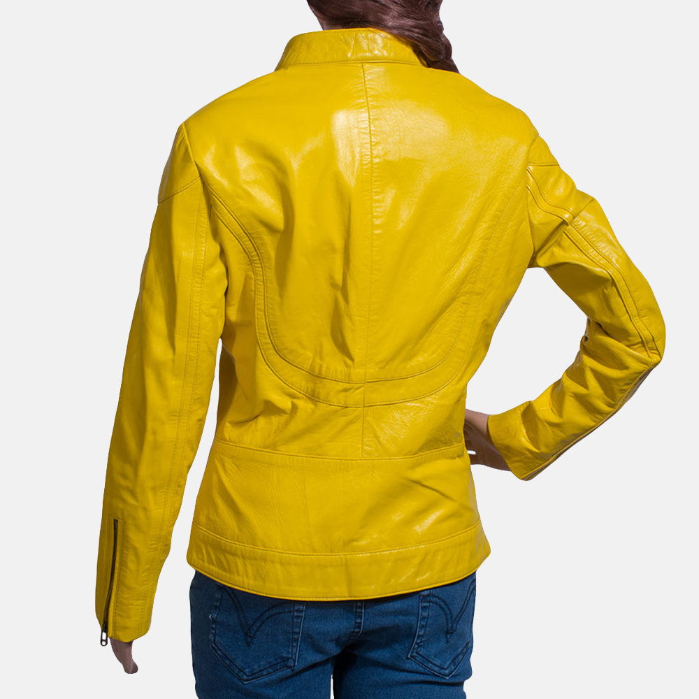Womens Mystic Yellow Leather Biker Jacket 5