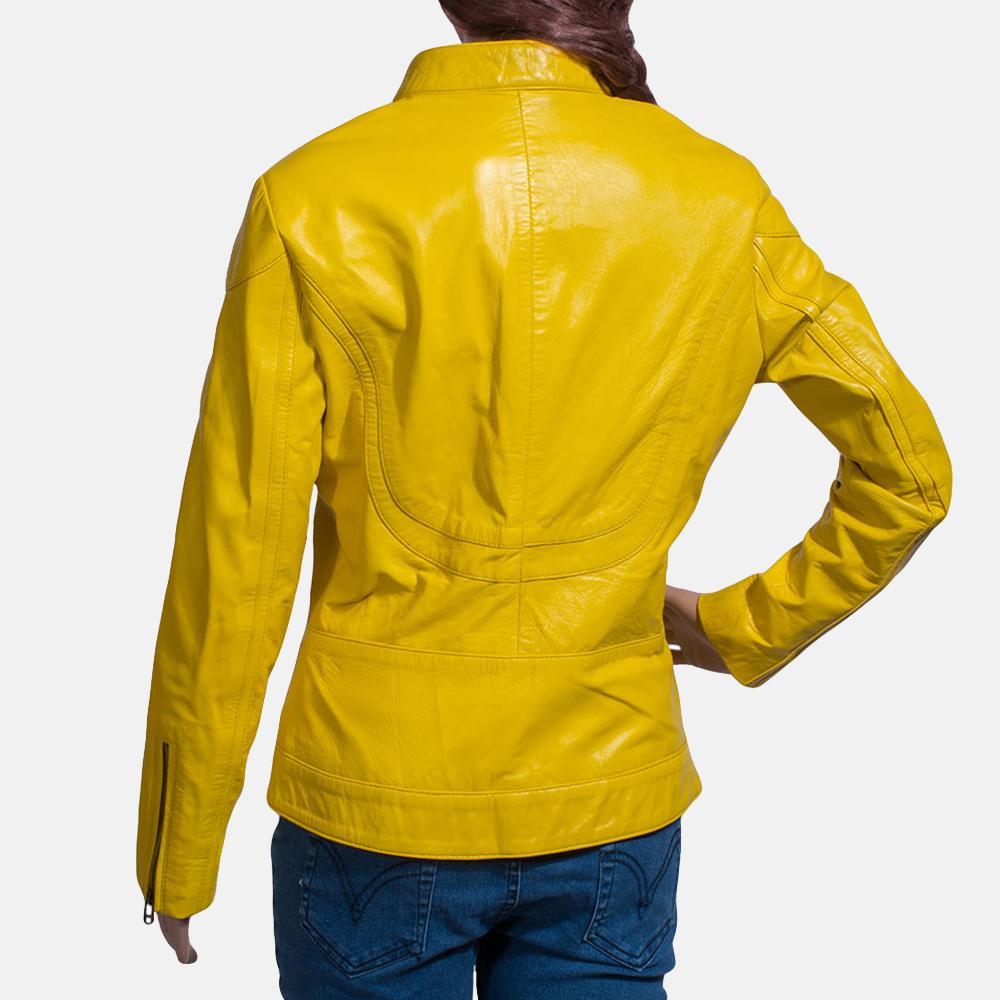 Womens Mystic Yellow Leather Biker Jacket 5