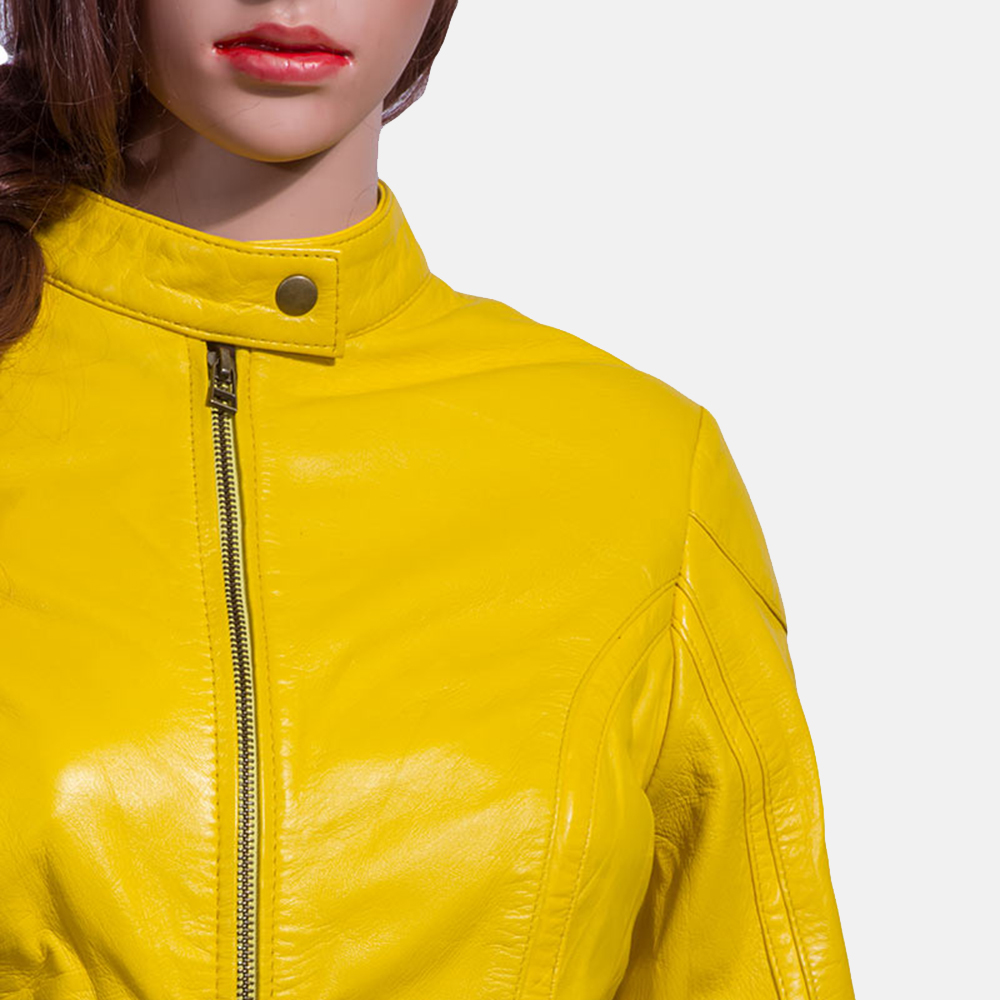 Womens Mystic Yellow Leather Biker Jacket 2