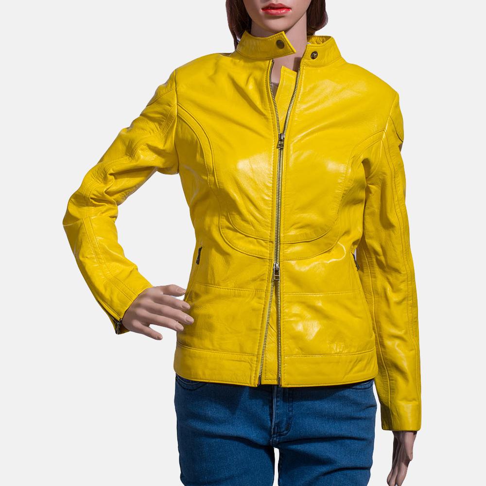 Womens Mystic Yellow Leather Biker Jacket 1
