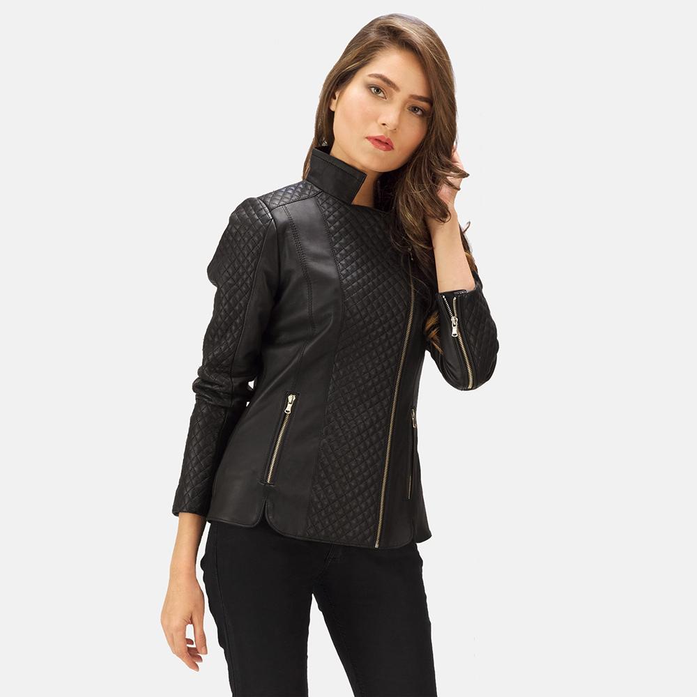 0f17645b Womens Orient Grain Quilted Black Leather Biker Jacket 1