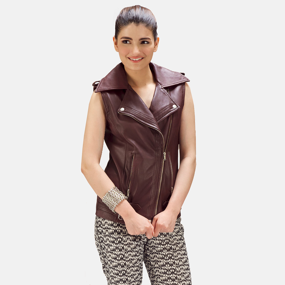 Womens Rhonda Maroon Leather Biker Vest 1