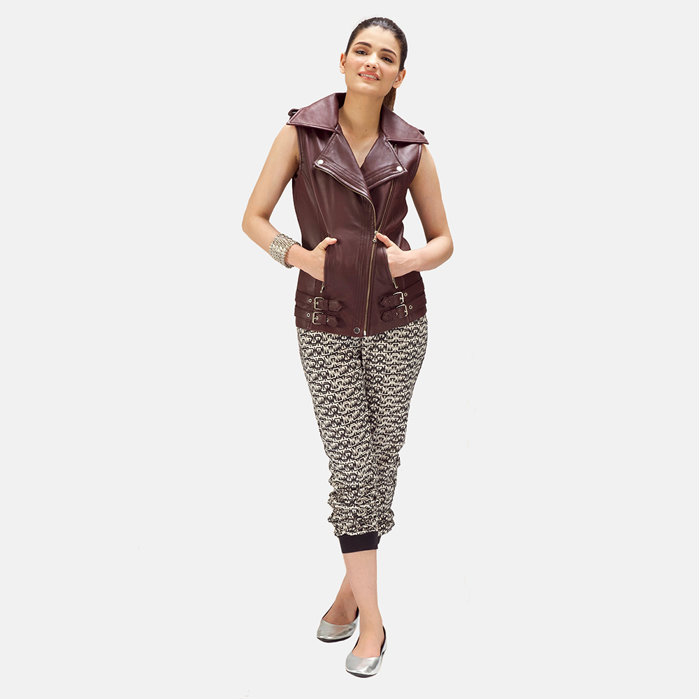 Womens Rhonda Maroon Leather Biker Vest 2
