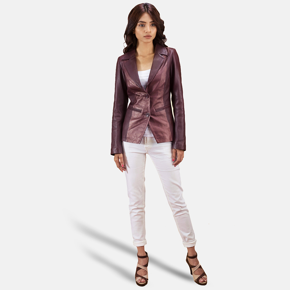 Womens Ruby Metallic Maroon Leather Blazer 2