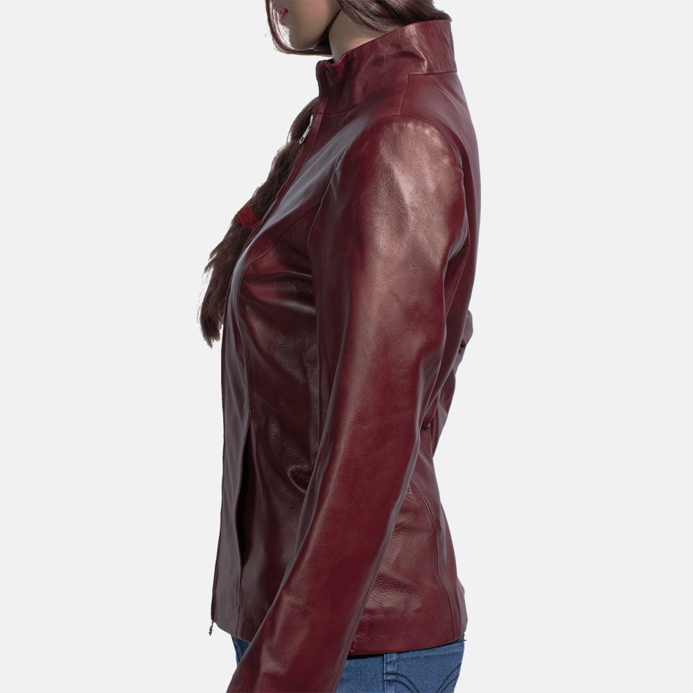 Womens Rumella Maroon Leather Biker Jacket 4
