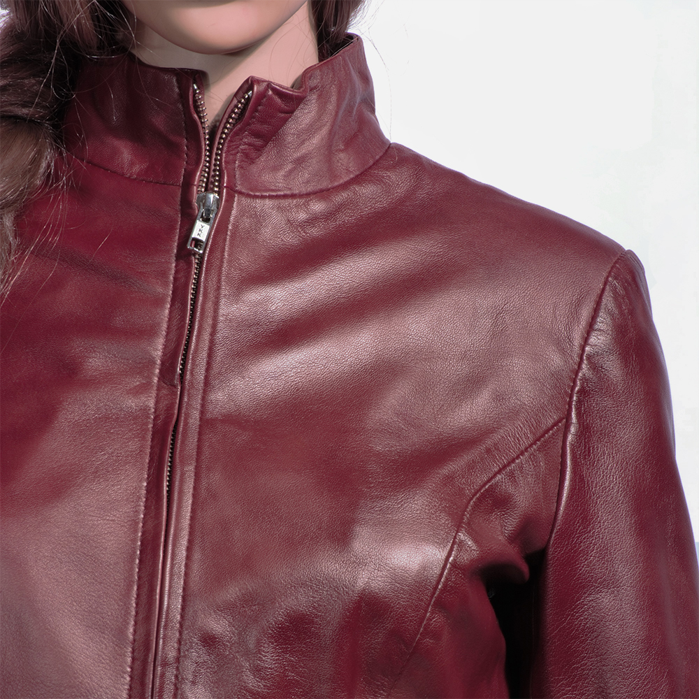 Womens Rumella Maroon Leather Biker Jacket 2