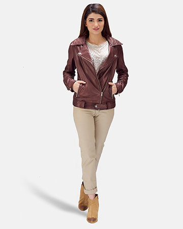 Womens Rumy Maroon Leather Biker Jacket 1