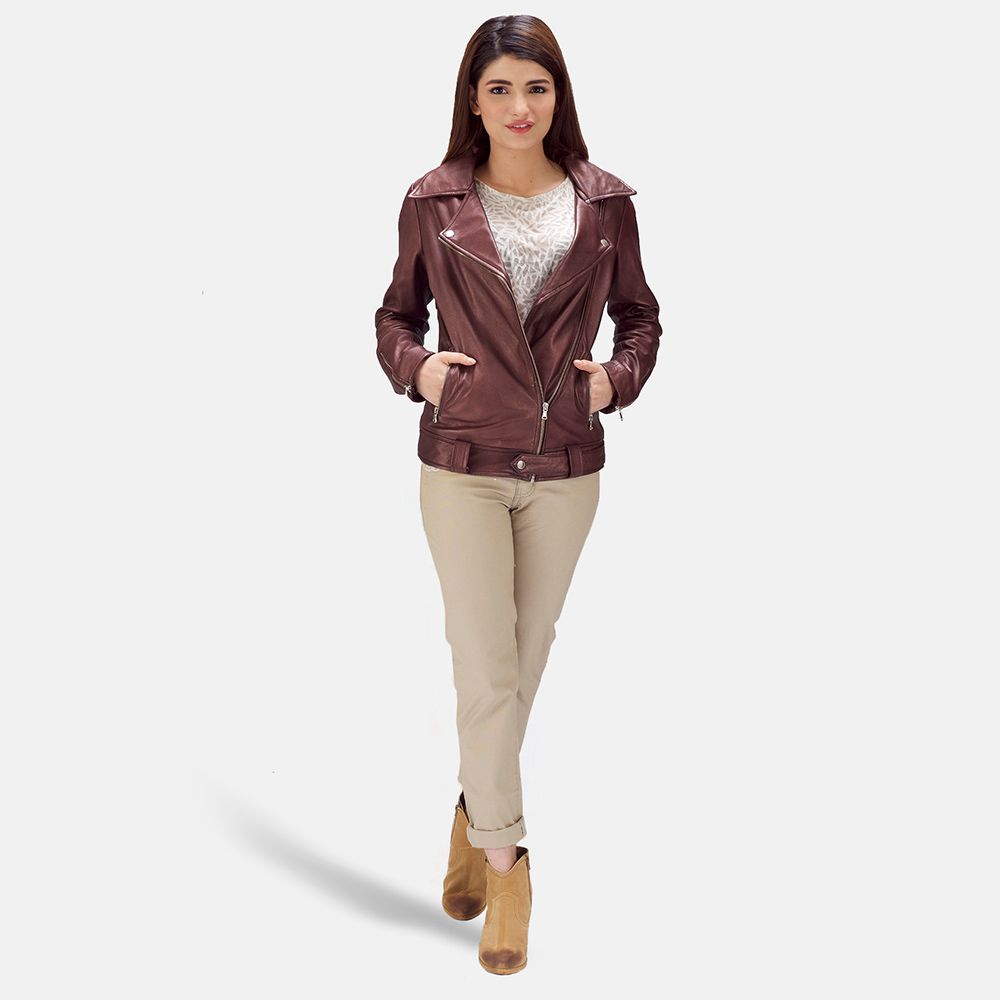 Womens Rumy Maroon Leather Biker Jacket 2
