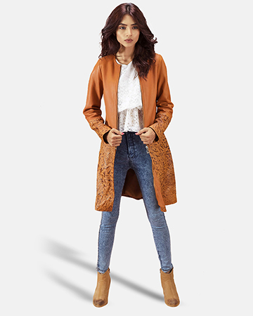 Womens Sandy Tan Dye Leather Coat 1