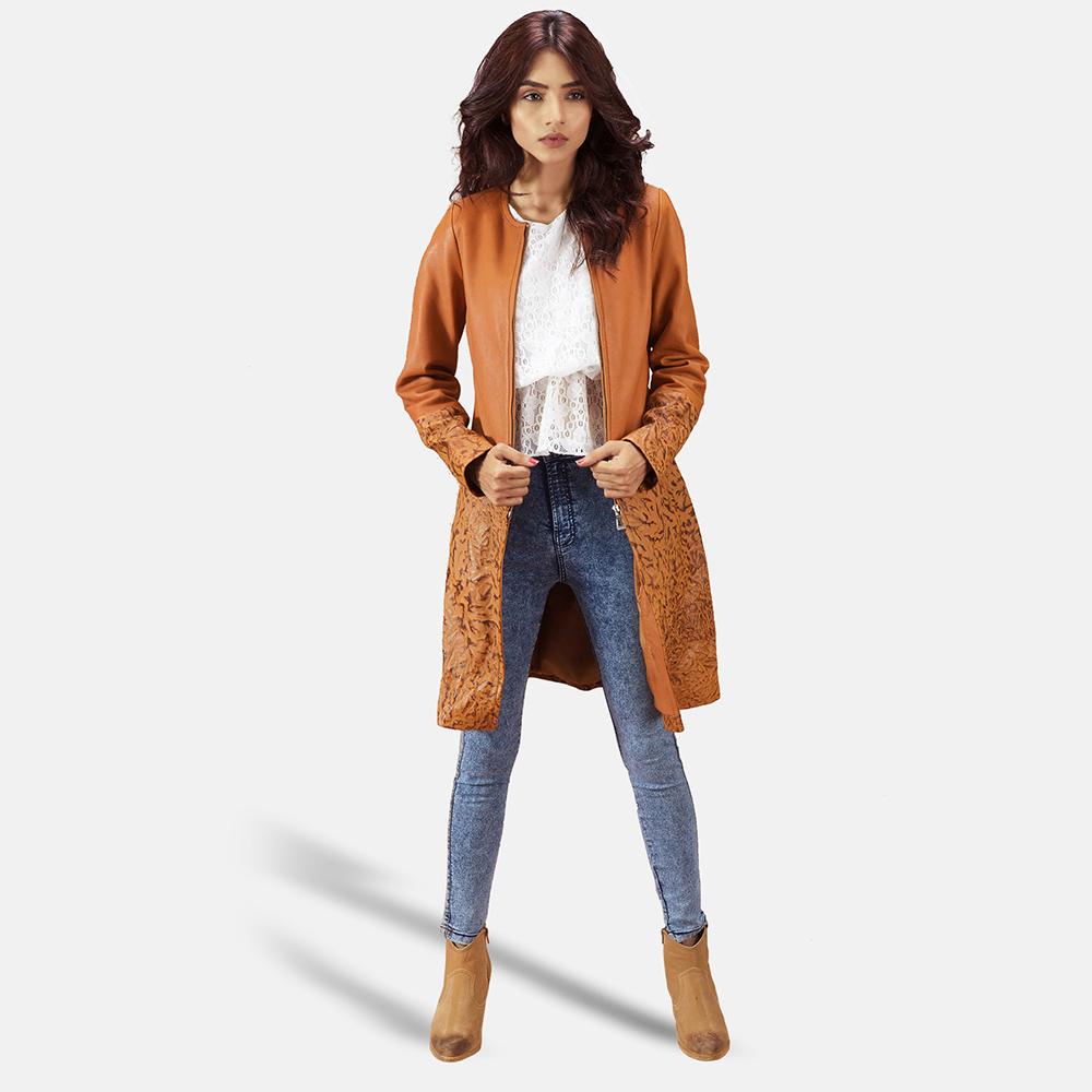 Womens Sandy Tan Dye Leather Coat 2