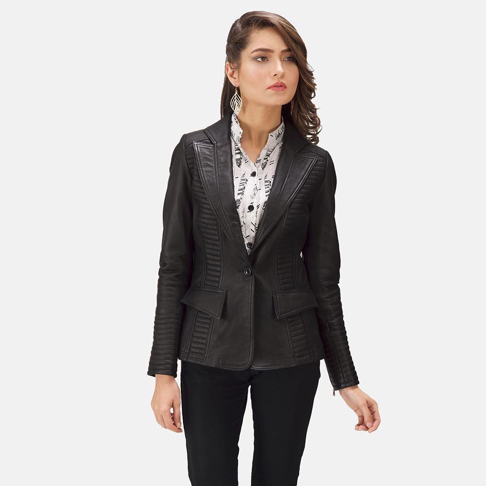 Womens Selina Black Leather Blazer 1