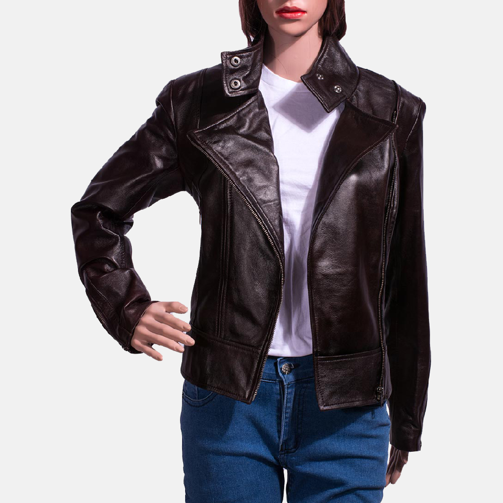 Womens Smolder Black Leather Biker Jacket 3