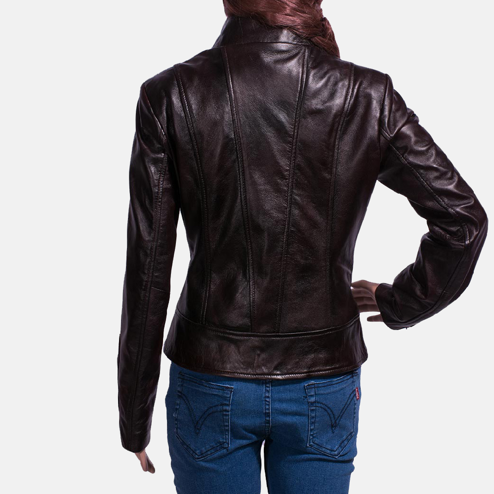 Womens Smolder Black Leather Biker Jacket 6