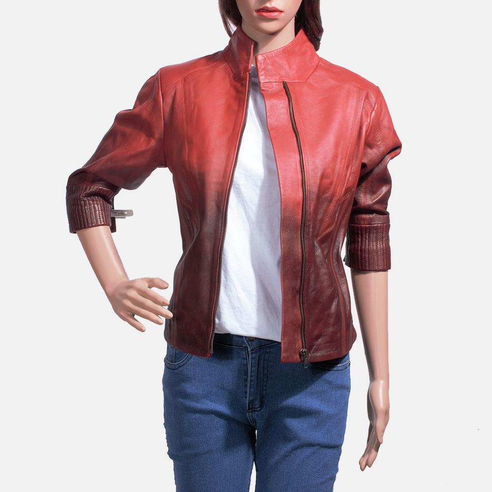 Womens Stacy Spice Red Leather Biker Jacket 2