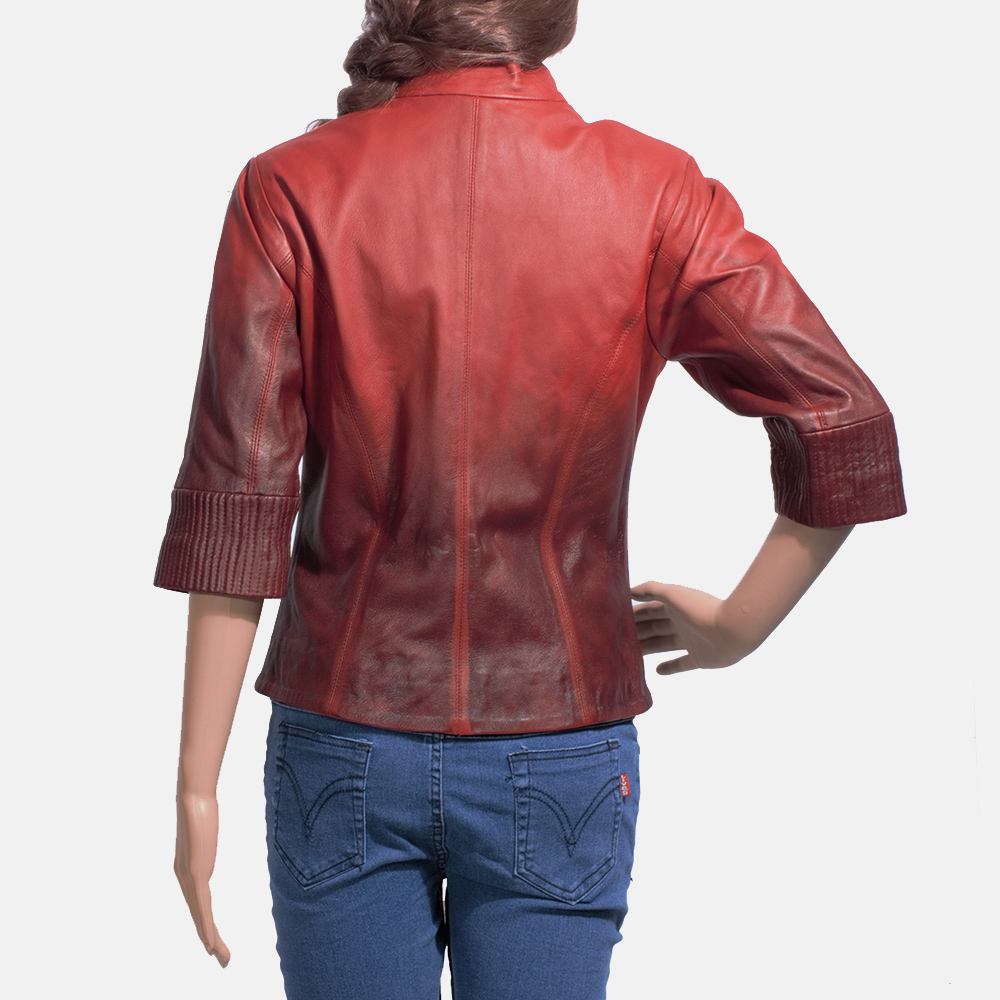 Womens Stacy Spice Red Leather Biker Jacket 5