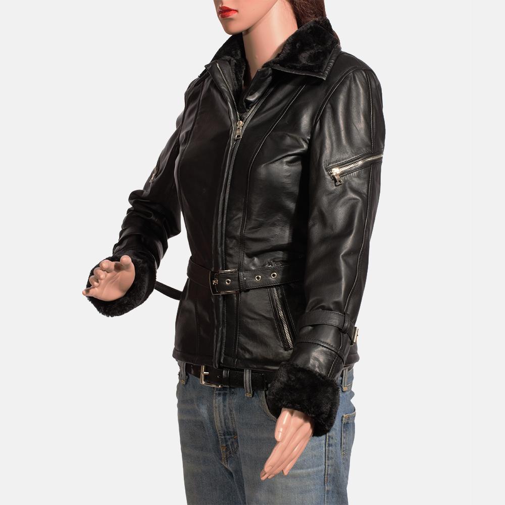 Womens Stella Black Fur Leather Jacket 3
