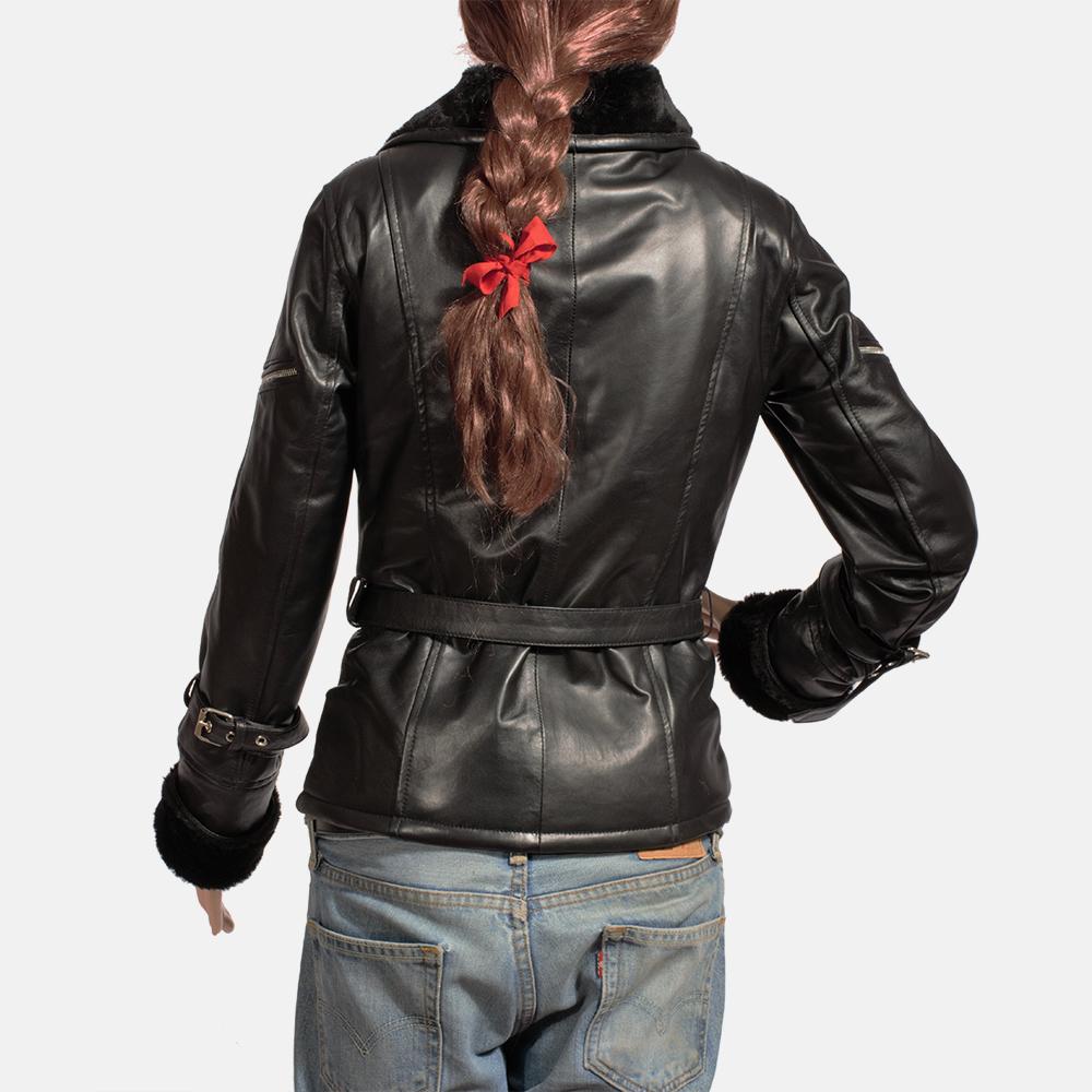 Womens Stella Black Fur Leather Jacket 5
