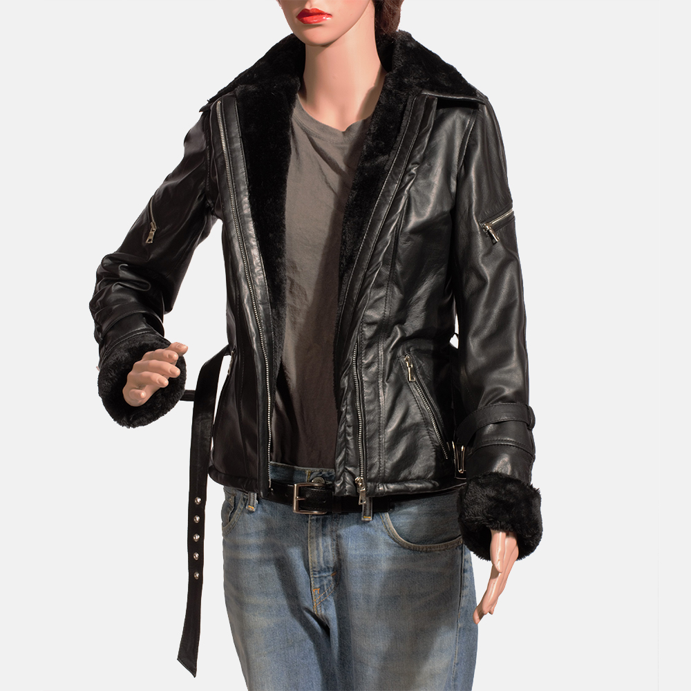 Womens Stella Black Fur Leather Jacket 4