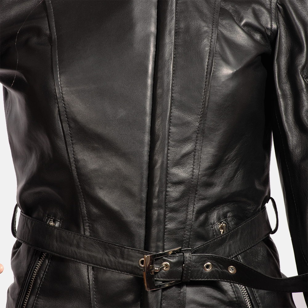 Womens Stella Black Fur Leather Jacket 6