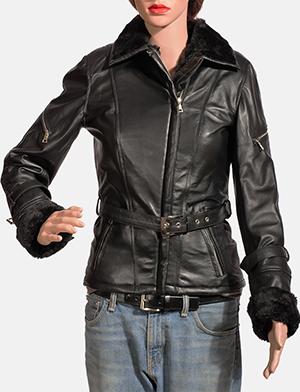 Womens Stella Black Fur Leather Jacket 1