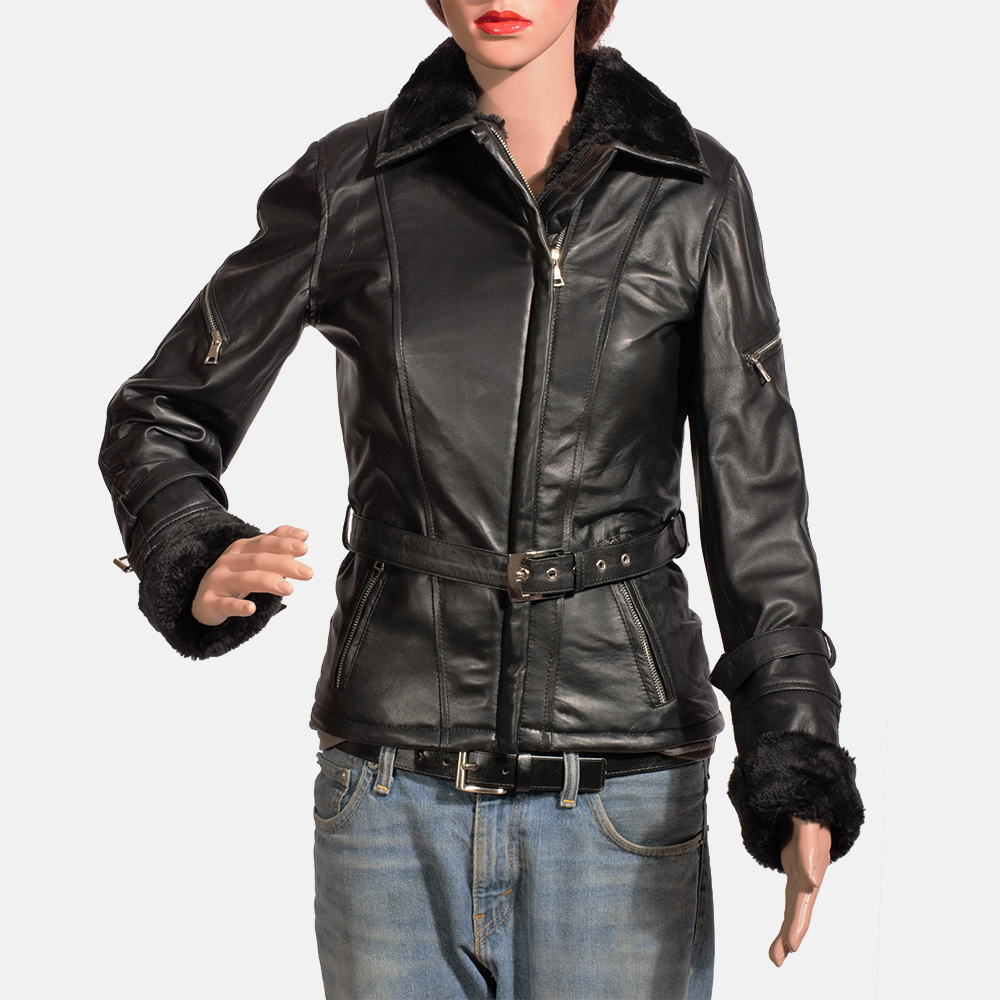 Womens Stella Black Fur Leather Jacket 2