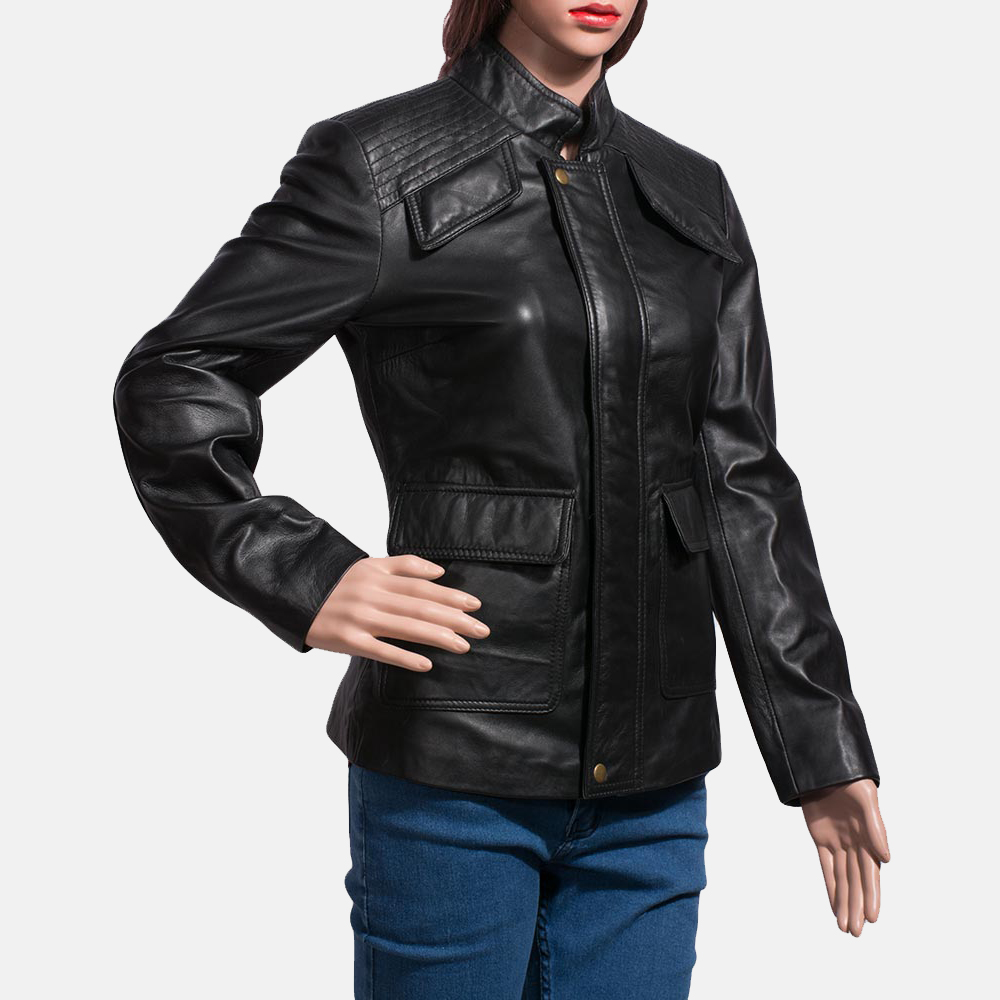 Womens Strada Black Leather Jacket 2