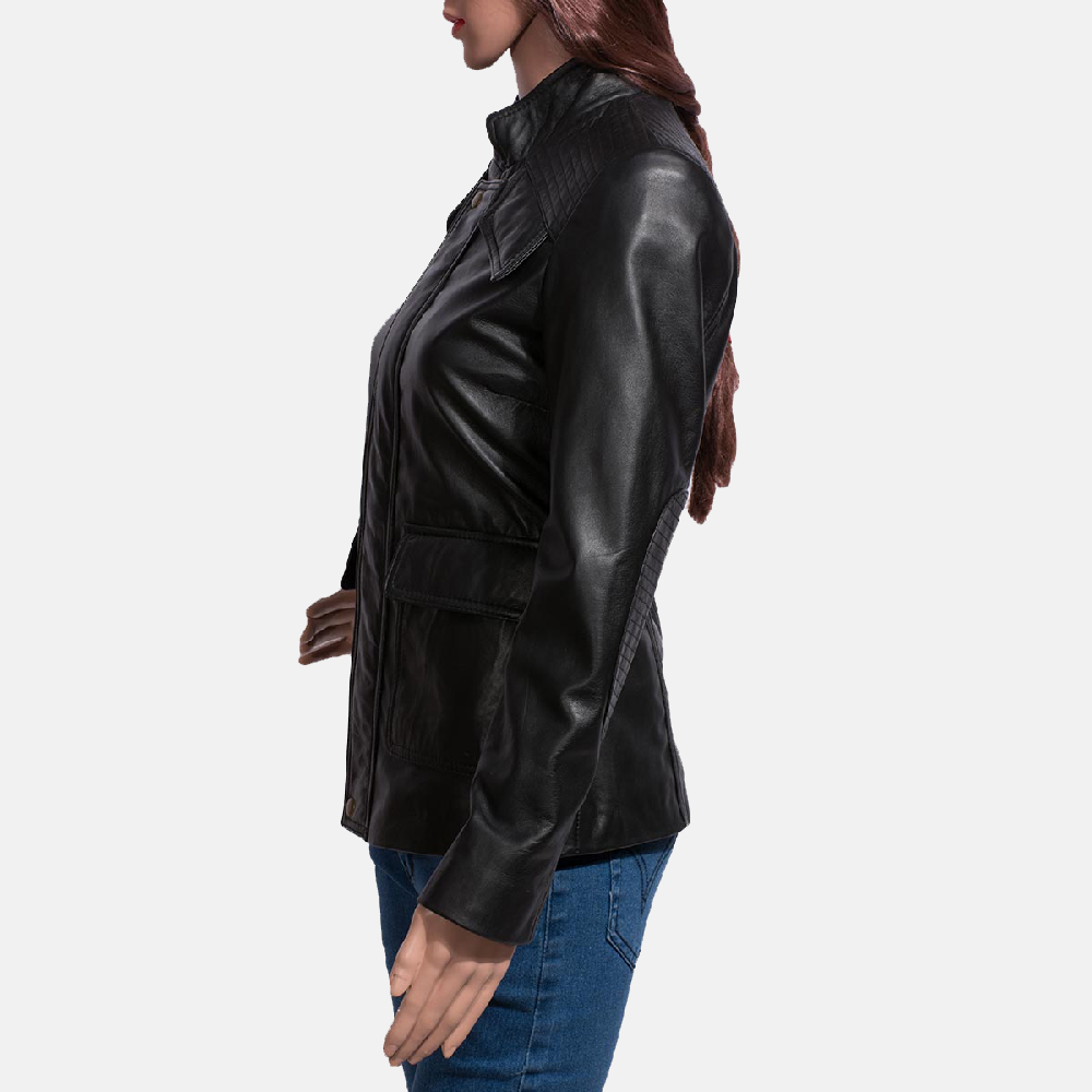 Womens Strada Black Leather Jacket 4