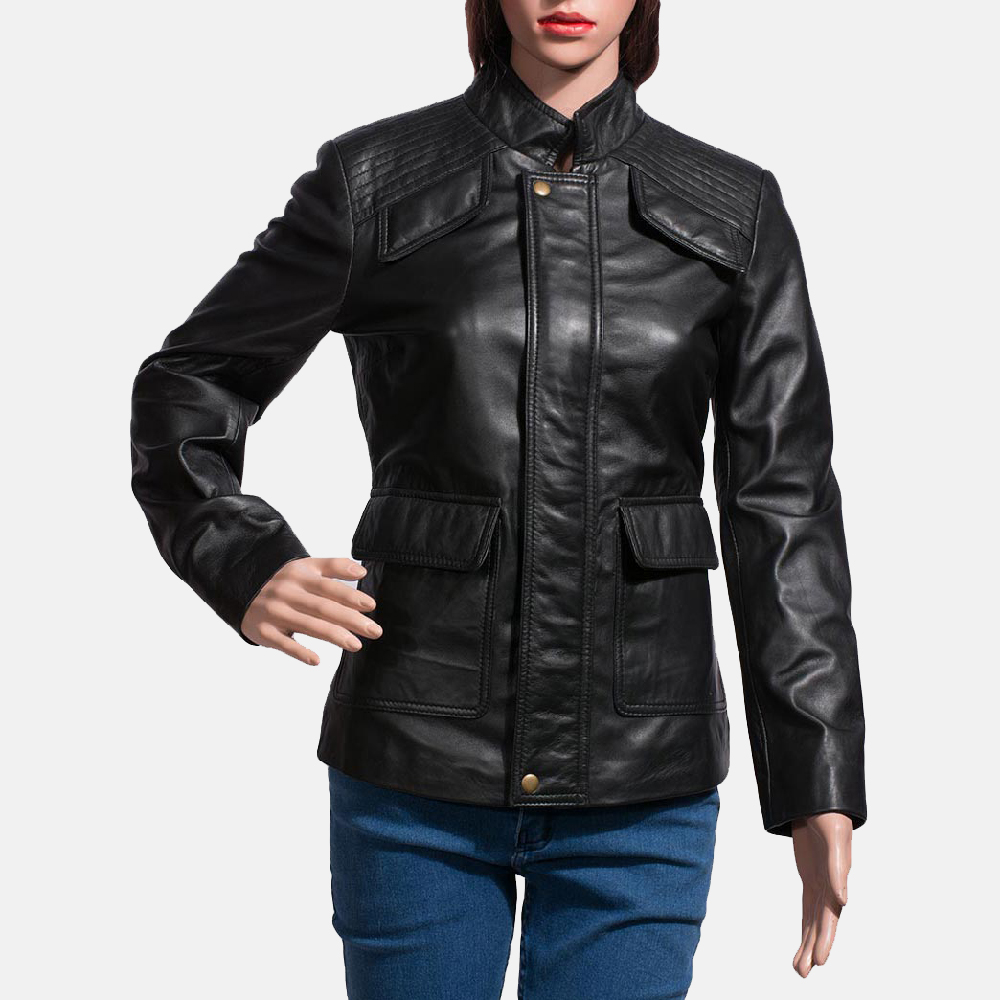 Womens Strada Black Leather Jacket 1