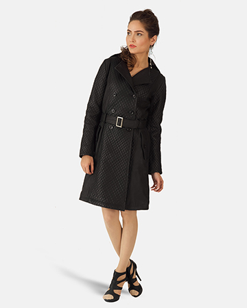 Womens Sweet Susan Black Leather Trench Coat 1