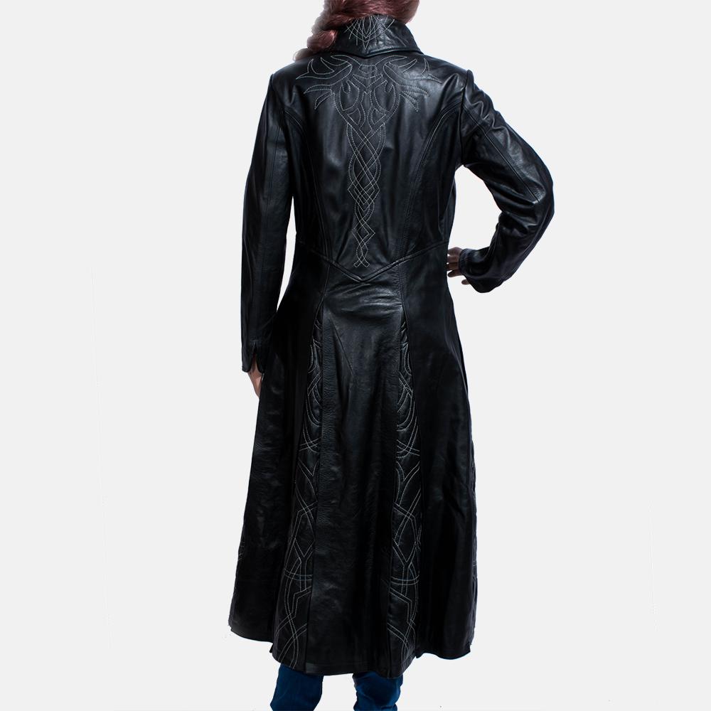 Womens Tribal Black Leather Long Coat 4
