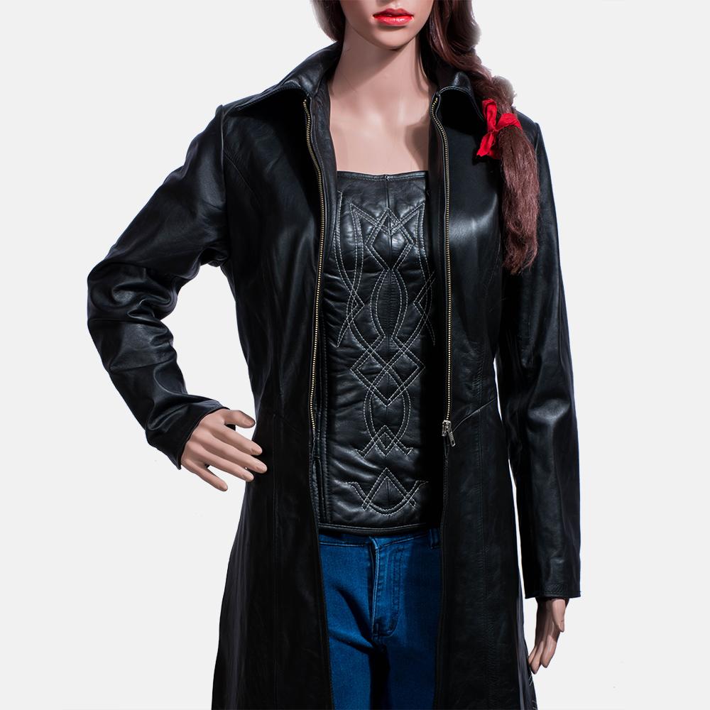 Womens Tribal Black Leather Long Coat 3