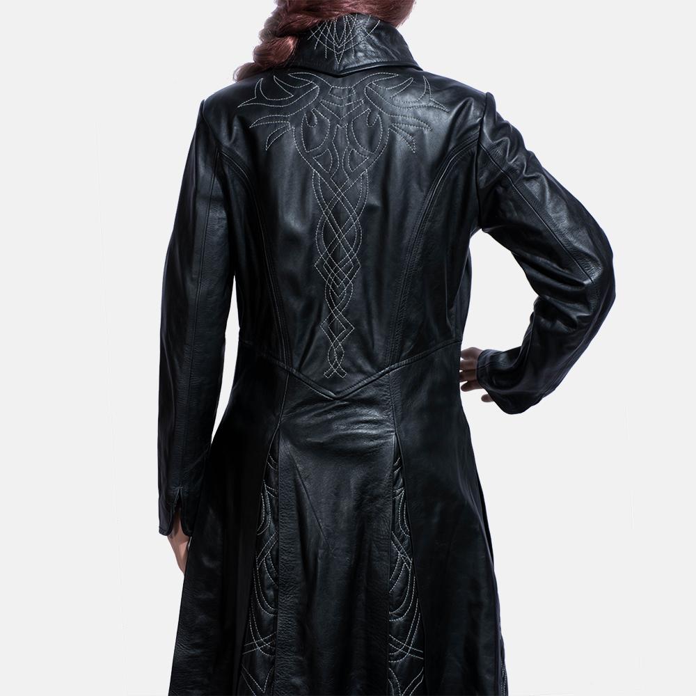 Womens Tribal Black Leather Long Coat 6
