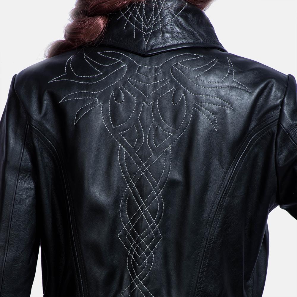 Womens Tribal Black Leather Long Coat 5