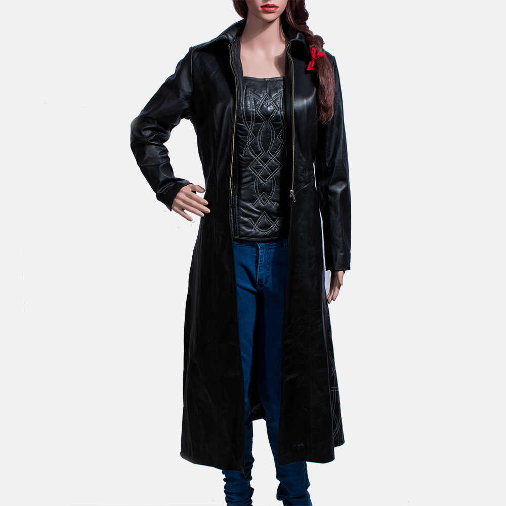 61d16aebde7 Womens Tribal Black Leather Long Coat