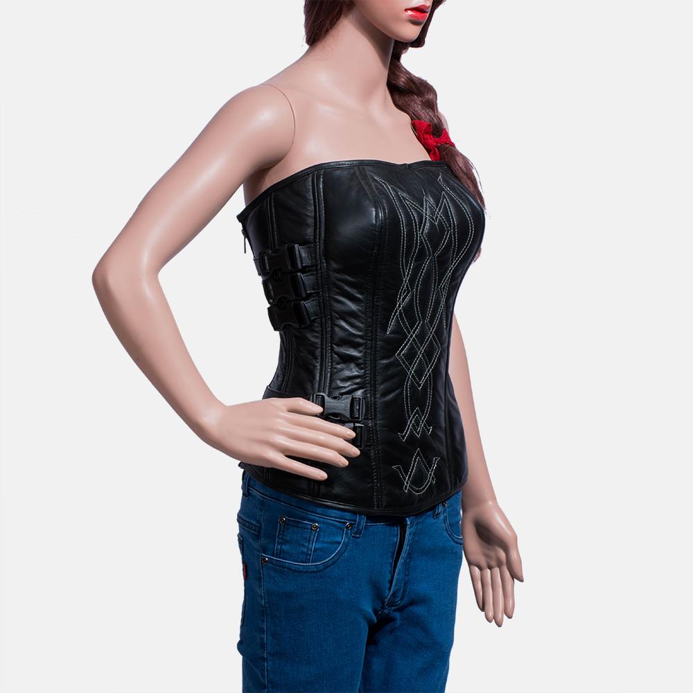 Womens Tribal Black Leather Vest 3