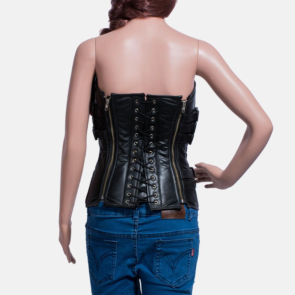 Womens Tribal Black Leather Vest 4