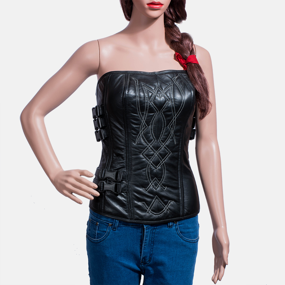Womens Tribal Black Leather Vest 2