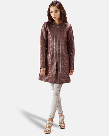 Womens Trudy Lane Quilted Maroon Leather Coat 1