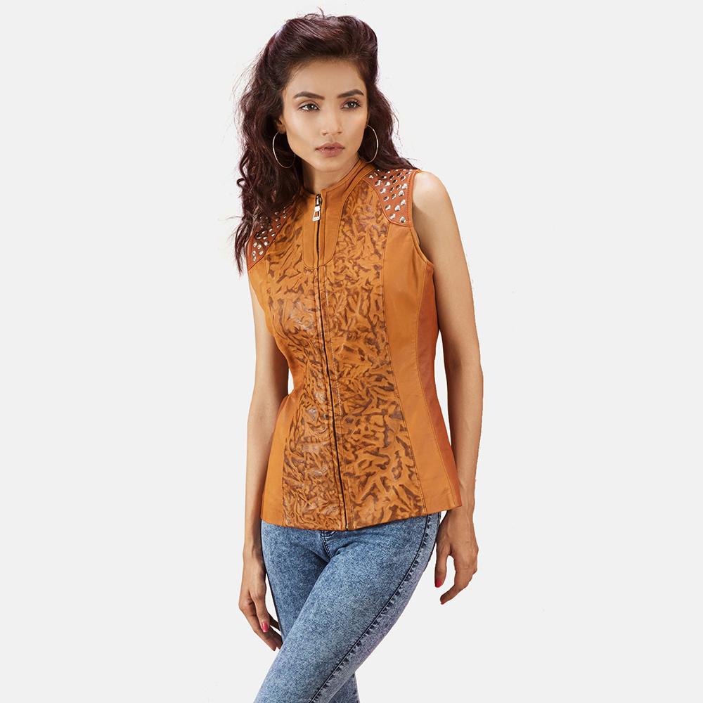 Womens Westina Tan Dye Leather Vest 1