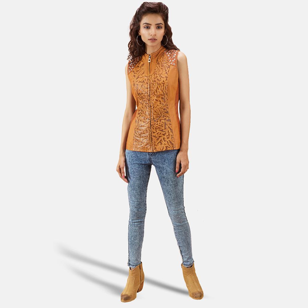 Womens Westina Tan Dye Leather Vest 2