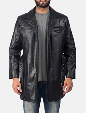 Men's Jordan Black Leather Coat