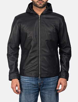 Men's Andy Matte Black Hooded Leather Jacket