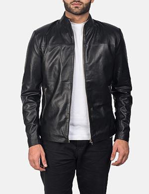 Mens Adornica Black Leather Jacket
