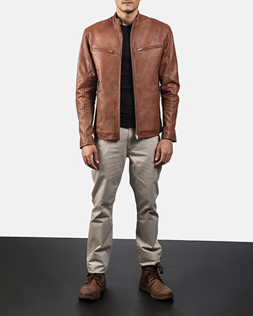 Mens Ionic Brown Leather Biker Jacket 1