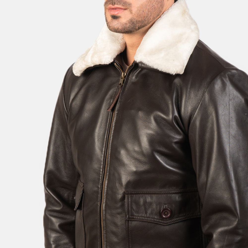 Men's Airin G-1 Brown Leather Bomber Jacket 6