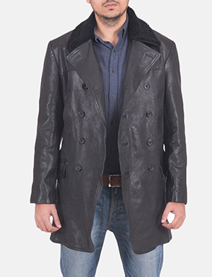Mens Pierce Shearling Black Leather Jacket