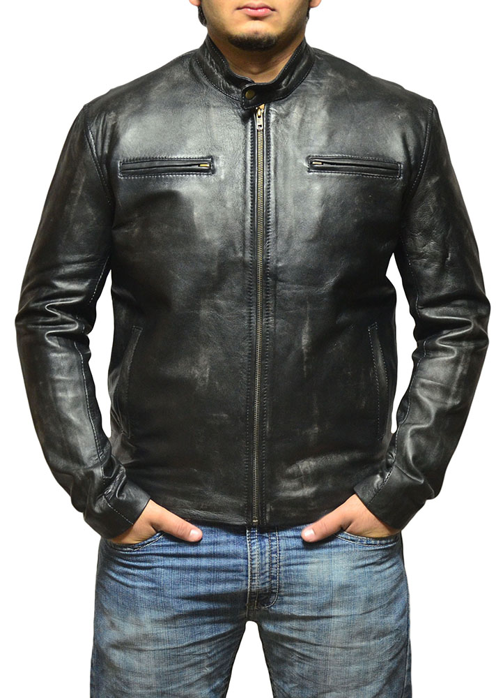 Contraband Mark Wahlberg Dsitressed Black Leather Jacket