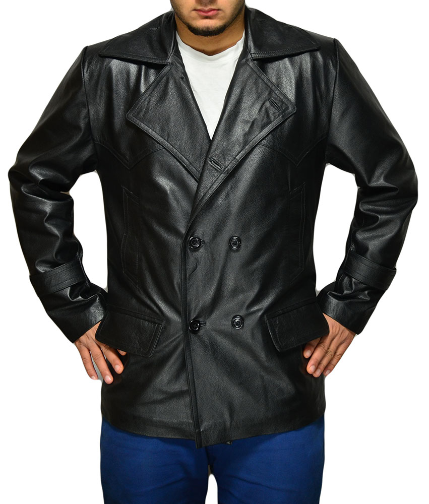 Dr Who Black Leather Coat