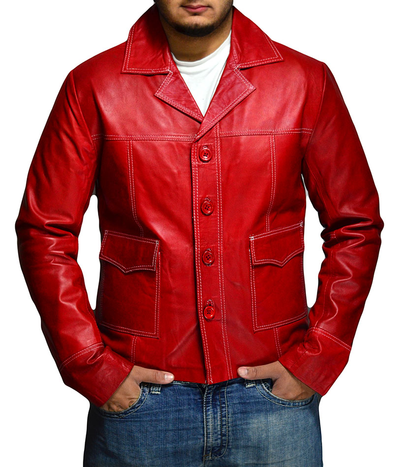 Fight Club Brad Pitt Red Leather Coat